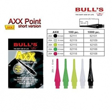 Bull's Personal Adult Soft Tips (2BA) 6 mm Short Black (Pack of 100