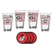 NCAA Georgia - Spirit Pints & Vinyl Coasters Set | Georgia Bulldogs Spirit Glassware Gift Set