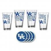 NCAA Kentucky - Spirit Pints & Vinyl Coasters Set | UK Wildcats Spirit Glassware Gift Set