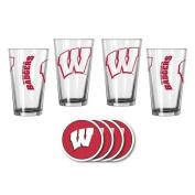 NCAA Wisconsin - Game Day Pint Glasses & Vinyl Coasters Set | Wisconsin Badgers Beverage Set