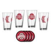 NCAA Ohio State - Game Day Pint Glasses & Vinyl Coasters Set | OSU Buckeyes Beverage Set
