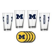 NCAA Michigan - Game Day Pint Glasses & Vinyl Coasters Set | Michigan Wolverines Beverage Set