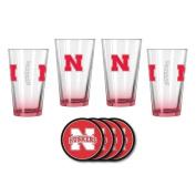 NCAA Nebraska - Elite Beer Pints & Vinyl Coasters Set | Nebraska Cornhuskers Mixing Glass Beverage Set