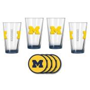 NCAA Michigan - Elite Beer Pints & Vinyl Coasters Set | Michigan Wolverines Mixing Glass Beverage Set