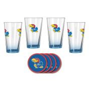 NCAA Kansas - Elite Beer Pints & Vinyl Coasters Set | KU Jayhawks Mixing Glass Beverage Set