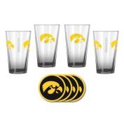 NCAA Iowa - Elite Beer Pints & Vinyl Coasters Set | Iowa Hawkeyes Mixing Glass Beverage Set