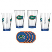 NCAA Florida - Elite Beer Pints & Vinyl Coasters Set | UF Gators Mixing Glass Beverage Set