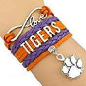 Clemson University Tigers College Team Bracelet with Charm