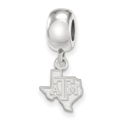 Texas A & M University Aggies XS Dangle Bead Charm in Sterling Silver 2.78 gr