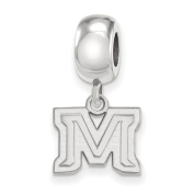 Montana State University Bobcats XS Dangle Bead Charm in Sterling Silver 3.25 gr
