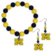 NCAA Michigan Wolverines Fan Bead Earrings & Bracelet Set