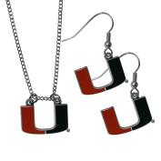 NCAA Miami Hurricanes Dangle Earrings & Chain Necklace Set, Orange