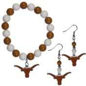 NCAA Texas Longhorns Fan Bead Earrings & Bracelet Set