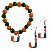 NCAA Miami Hurricanes Fan Bead Earrings & Bracelet Set