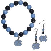 NCAA North Carolina Tar Heels Fan Bead Earrings & Bracelet Set