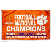 Clemson Tigers 2 Time National Champs 0.9m x 1.5m Flag