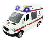 Large Friction Powered Ambulance 1:16 Toy Emergency Vehicle w/ Lights and Sounds