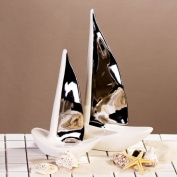 "Sailing Boat ""Journey"" White Silver 37 cm High and 24 cm Wide"