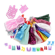 ASIV 12 Dresses, 12 Paris of Shoes & 12 Hangers Accessories for Barbie Gifts for Kid