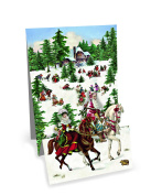 Mini Advent Calendar Christmas Card - Pop Up Christmas Panorama - Horses