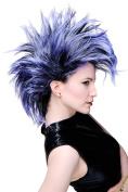 WIG ME UP - Party/Fancy Dress/Halloween Wig Mohawk 80ies Wave Glam Punk Black & Blue