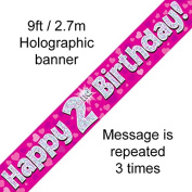 2nd Birthday Pink Holographic Banner
