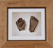 BabyRice New Baby Casting Kit with 15cm x 13cm Rustic Pine 3D Box Display Frame / White Mount / White Backing / Bronze Paint