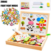 SICA Kids Educational Learning Wooden Magnetic Drawing Board Jigsaw Puzzle Toys (Shape  .