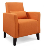 Flare Upholstered Decco Accent Chair with Pillow, Safron