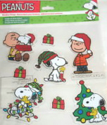 Peanuts Holiday Christmas Window Clings Double Sided Chalrie Brown Snoopy Santa Hats One Package of 8 Clings