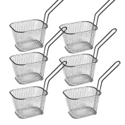 HUAXIONG Set of 6 - Mini Chrome Chip Basket Round Frying Fry Serving Basket Ideal for Chips, Fries, Shrimps, Onion Rings, Wedges