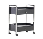 CLP Luxury Salon Trolley with 2 drawers, high-quality, made of metal and wood, developed especially for professional use black