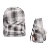 Cosanter Grid Backpack Little Lattice Canvas Tartan Rucksack for Students School Travel