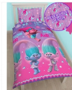 NEW Dreamworks Licenced Trolls Reversible Duvet Cover Gorgeous Pink & Purple Authentic Movie Characters