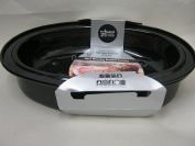 New Wham Black Vitreous Enamel Oval Lidded Roasting Roaster Dish 33cm 55000