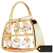 Special Mother's Day! 24K Gold Plated Purse Ornament Made with Genuine Matashi Crystals