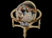 """13"""" Tall 220MM Diameter Pure White Pearl Powder Ocean Desk top Gemstone Globe with Gold Stand"""