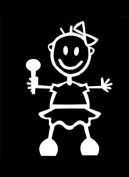 Official My Stick Figure Family Car Window Vinyl Sticker Baby Girl Standing BG2