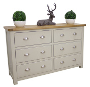 Aspen Painted Oak Sage / Grey Chest of Drawers / 6 Drawer Storage Chest / Bedroom Furniture