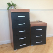 Black & Walnut 5 Drawer Tall Boy Chest & 3 Draw Bedside Cabinet Narrow Bedroom Furniture