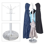 Metal Hat,Coat, Jacket, Umbrella & Scarf Hanger Stand Rack Hall Storage with Marble Base