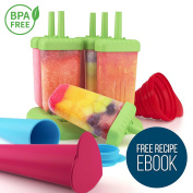 Ultimate Ice Lolly Moulds Set with Loading Funnel - Colourful, Non-Sticky, Six-piece Ice Lolly Maker PLUS Silicone Popsicle Moulds And FREE Recipe eBook