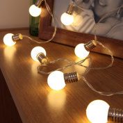 Mini Festoon String Lights - Battery Operated - Frosted Bulb - 10 Warm White LEDs - 2m by Festive Lights