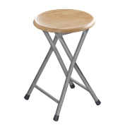 Premier Housewares Natural Rubberwood Folding Stool with Silver Legs