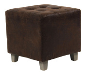 Square footstool - Aged leather look - colour BROWN
