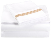 Luxor Treasures Super Soft Light Weight/Wrinkle Resistant Sheet Set with 5-Line Embroidery in Gift Box, 100 Percent Brushed Microfiber, White/Gold, Queen Size, 4-Piece