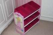 Happy Princess Childrens Large Wooden Toy Storage Rack- Patented Graphics