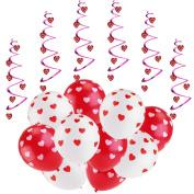ROSENICE Valentine Decorations 6pcs Hanging Hearts and 20pcs Balloons