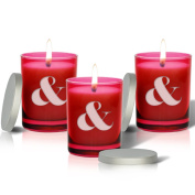 SET OF 3 - RUBY GEM COLLECTION GLASS CANDLE : LARGE AMP SIGN