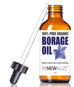 Organic BORAGE SEED OIL LIQUID in LARGE 120ml Dark Glass Bottle with Eyedropper   100% Pure Cold Pressed   All Natural Moisturiser for Skin , Face , Hair and Nails